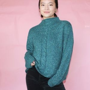 vtg 90s teal knitted boxy sweater